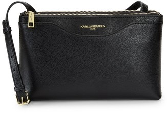 Karl Lagerfeld Paris Doreen Leather Double-Zip Crossbody Bag