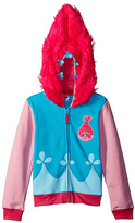 Freeze Trolls Blue & Pink Poppy Zip-Up Hoodie - Girls