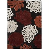 Linon Trio Rug In Chocolate And Garnet 1.10 x 2.10 - 5 x 7