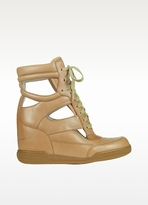 Marc by Marc Jacobs Cutout Nude Leather Wedge Sneakers