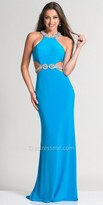 Dave and Johnny Halter Beaded Cutout Prom Dress