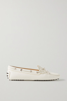 Tod's Gommino Textured-leather Loafers - Off-white