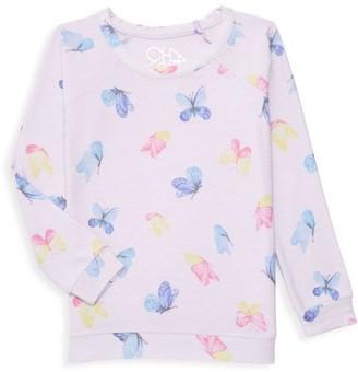 Chaser Little Girl's & Girl's Butterfly Print Sweatshirt