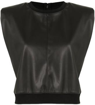 Alice + Olivia Kendrick faux leather top