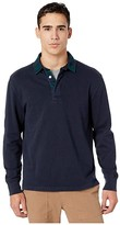 J.Crew 1984 Rugby Shirt with Black Watch Plaid Flannel Collar (Blackwatch Plaid Combo) Men's Clothing