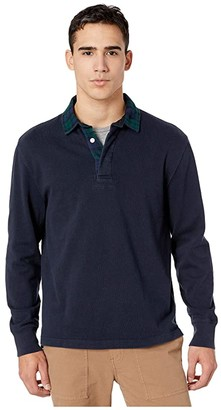 J.Crew 1984 Rugby Shirt with Black Watch Plaid Flannel Collar