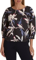 Betty & Co. Floral Print Top, Grey/Cream