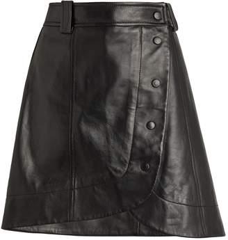 Ganni Leather Asymmetric Mini Skirt