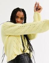 Bershka cable knit sweater in yellow