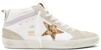 Golden Goose Mid Star High-top Leather Trainers - Womens - White