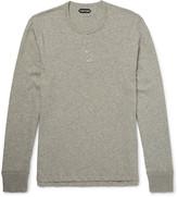 Tom Ford - Mélange Cotton-jersey Henley T-shirt