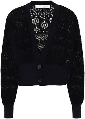 IRO Pia Cropped Pointelle-knit Cotton Cardigan
