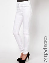 Asos PETITE Ridley High Waist Ultra Skinny Jeans In White