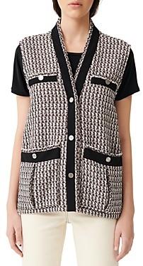 Maje Vivi Tweed Sleeveless Jacket