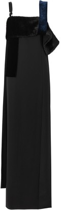 Burberry Faux Fur Detail Panelled Silk And Velvet Gown