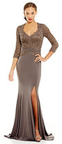 Terani Couture Scalloped V-Neck Beaded Lace Bodice Gown