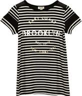 River Island Mini girls Black Brooklyn stripe mesh dress