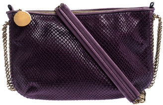 Stella McCartney Purple Faux Python Leather Chain Shoulder Bag