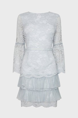 Coast Lace Ruffle Tulle Hem Dress