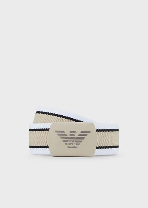 Emporio Armani Fabric Belt With Logo Buckle