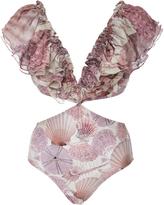 Agua de Coco Cut-Out One-Piece Silk Swimsuit