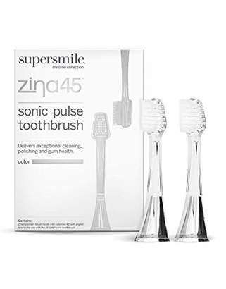 Supersmile Zina45 Replacement Brush Heads for Sonic Pulse Toothbrush - Patented 45° Soft Bristles Deliver Professional Teeth Cleaning - No Sensitivity (