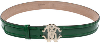 Roberto Cavalli Green Patent Leather Logo Buckle Belt 95CM
