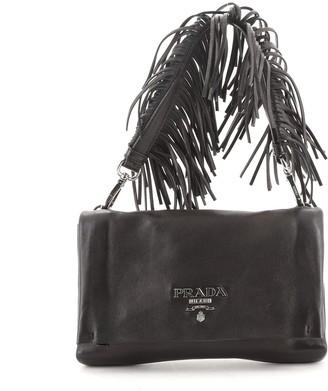 Prada Fringe Flap Shoulder Bag Nappa Leather Small