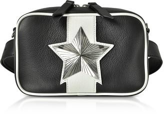 Black and White Leather Vega Belt Bag w/Chain Strap
