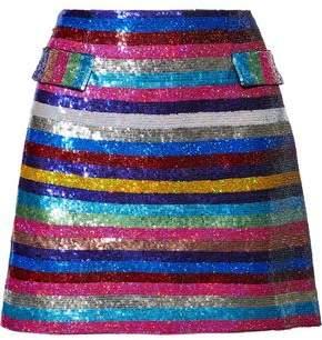 Mary Katrantzou Clovis Striped Sequined Crepe Mini Skirt