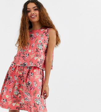Brave Soul Petite Celeste Double Layer Floral Dress with Pom Pom Trim-Pink