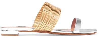 Aquazzura Rendez Vous Metallic Leather Sandals - Silver