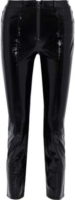 Frame Slick Textured Patent-leather Slim-leg Pants