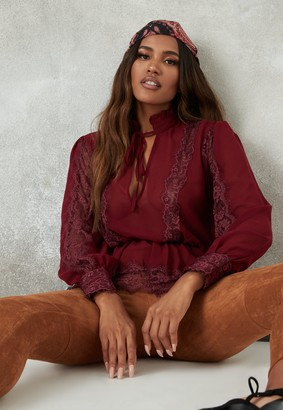 Missguided Burgundy Lace Insert Peplum Balloon Sleeve Blouse