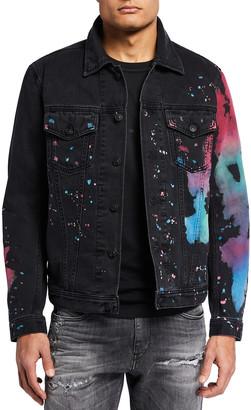 Diesel Men's Nhill-C-SP Paint Splatter Denim Jacket