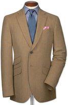 Charles Tyrwhitt Slim Fit Tan Checkered Luxury Border Tweed Wool Jacket Size 38 Long