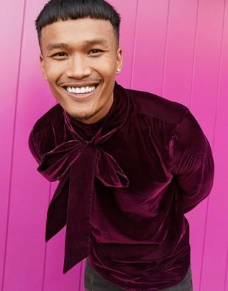 ASOS DESIGN regular fit velvet shirt with pussybow neck tie in deep purple