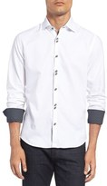 Stone Rose Men's Trim Fit Contrast Trim Textured Sport Shirt