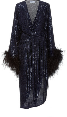NERVI Donna Feather-Trimmed Sequined Wrap Dress