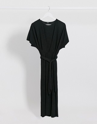 Bershka crinkle tie-waist midi dress in black