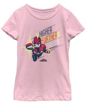 Fifth Sun Marvel Big Girl's Captain Marvel Higher Further Faster Drawn Short Sleeve T-Shirt