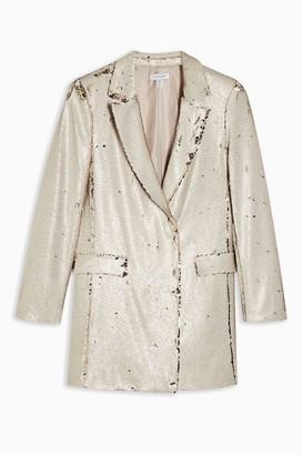 Topshop Womens Ivory Sequin Blazer Dress - Ivory