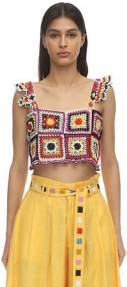 Carolina K. Tile Cropped Cotton Crochet Top