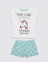 Marks and Spencer Printed Unicorn Emoji Short Pyjamas (6-16 Years)