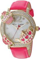 Betsey Johnson Women's Quartz Metal and Leather Casual Watch, Color:Pink (Model: BJ00614-02)