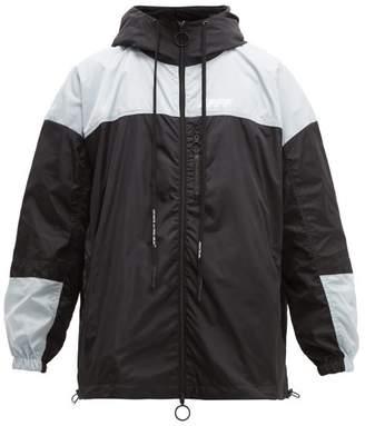 Off-White Off White Logo Print Windbreaker Jacket - Mens - Black Silver