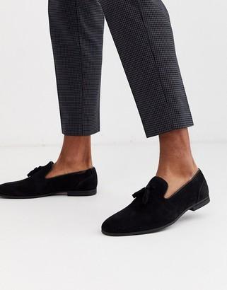 Asos DESIGN tassel loafers in black faux suede