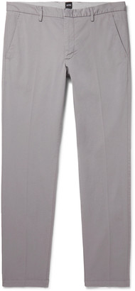 HUGO BOSS Katio Slim-Fit Tapered Cotton-Blend Twill Chinos - Men - Silver