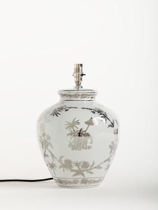 India Jane Elephant Silver Toile Ceramic Lamp Base, Silver, H33cm