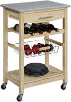 Linon Kitchen Cart, Granite-Top Cart w/ Wine Rack